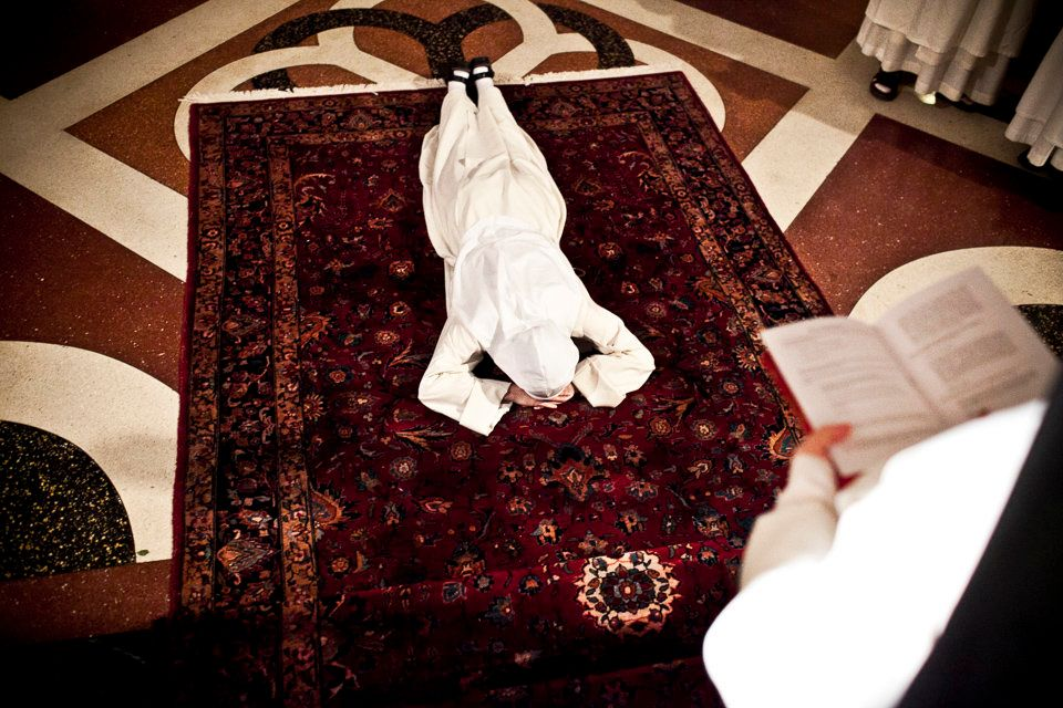 SUMMIT, NEW JERSEY - Oct. 22, 2010: Sister Maria Teresa rehearses prostrating in preparation for her First Profession ceremon