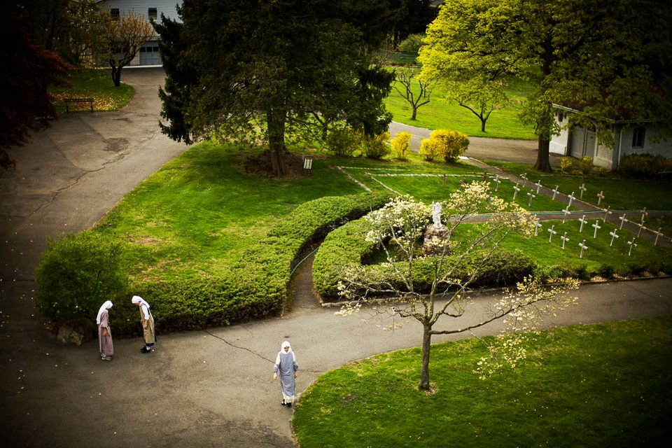 SUMMIT, NEW JERSEY - April 25, 2008: Monastery grounds blossom during spring. (Photo by Toni Greaves)