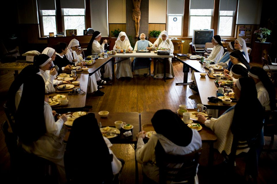 SUMMIT, NEW JERSEY - March 15, 2008: Community is an important part of monastic life. Sister Maria of the Cross (back, center