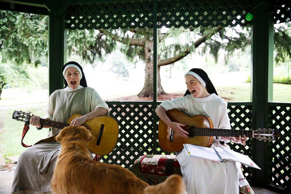 "SUMMIT, NEW JERSEY - July 4, 2014: Sister Mary Magdalene (left), and Sister Maria Teresa (right), sing ""The Eagle Song"" as Sa"