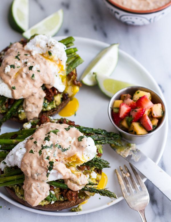 """<strong>Get the <a href=""""http://www.halfbakedharvest.com/cotija-guacamole-chorizo-eggs-benedict-honey-chipotle-lime-sauce/"""" t"""