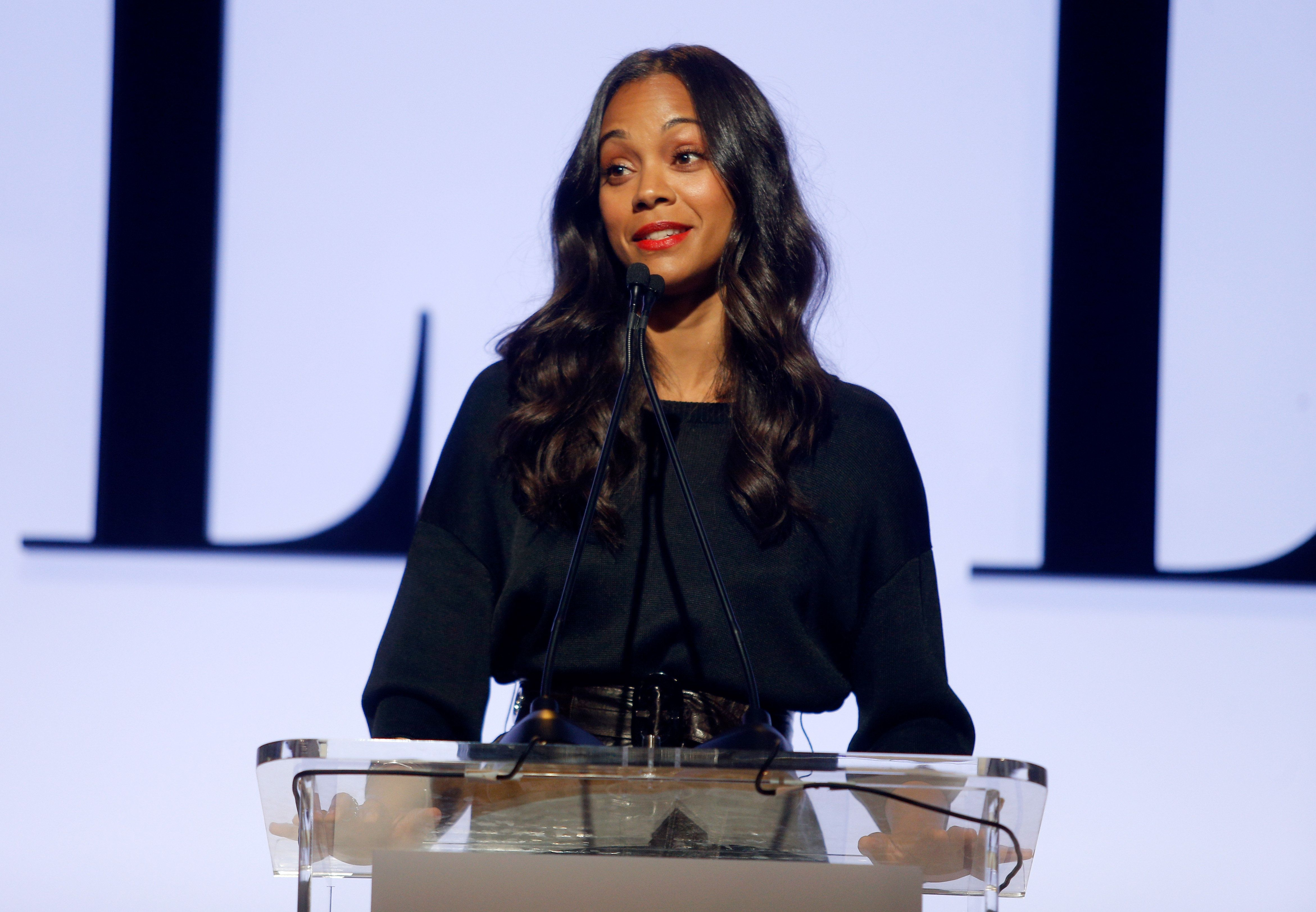 LOS ANGELES, CA - OCTOBER 19:  Actress Zoe Saldana speaks onstage during the 22nd Annual ELLE Women in Hollywood Awards presented by Calvin Klein Collection, L'Oréal Paris, and David Yurman at the Four Seasons Los Angeles at Beverly Hills on October 19, 2015 in Beverly Hills, California.  (Photo by Jeff Vespa/Getty Images for ELLE)