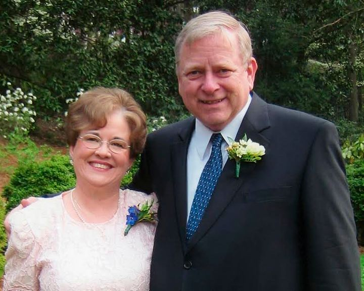 Pat and John Snyder at their son's wedding at Duke Gardens in Durham, North Carolina, in April 2004.