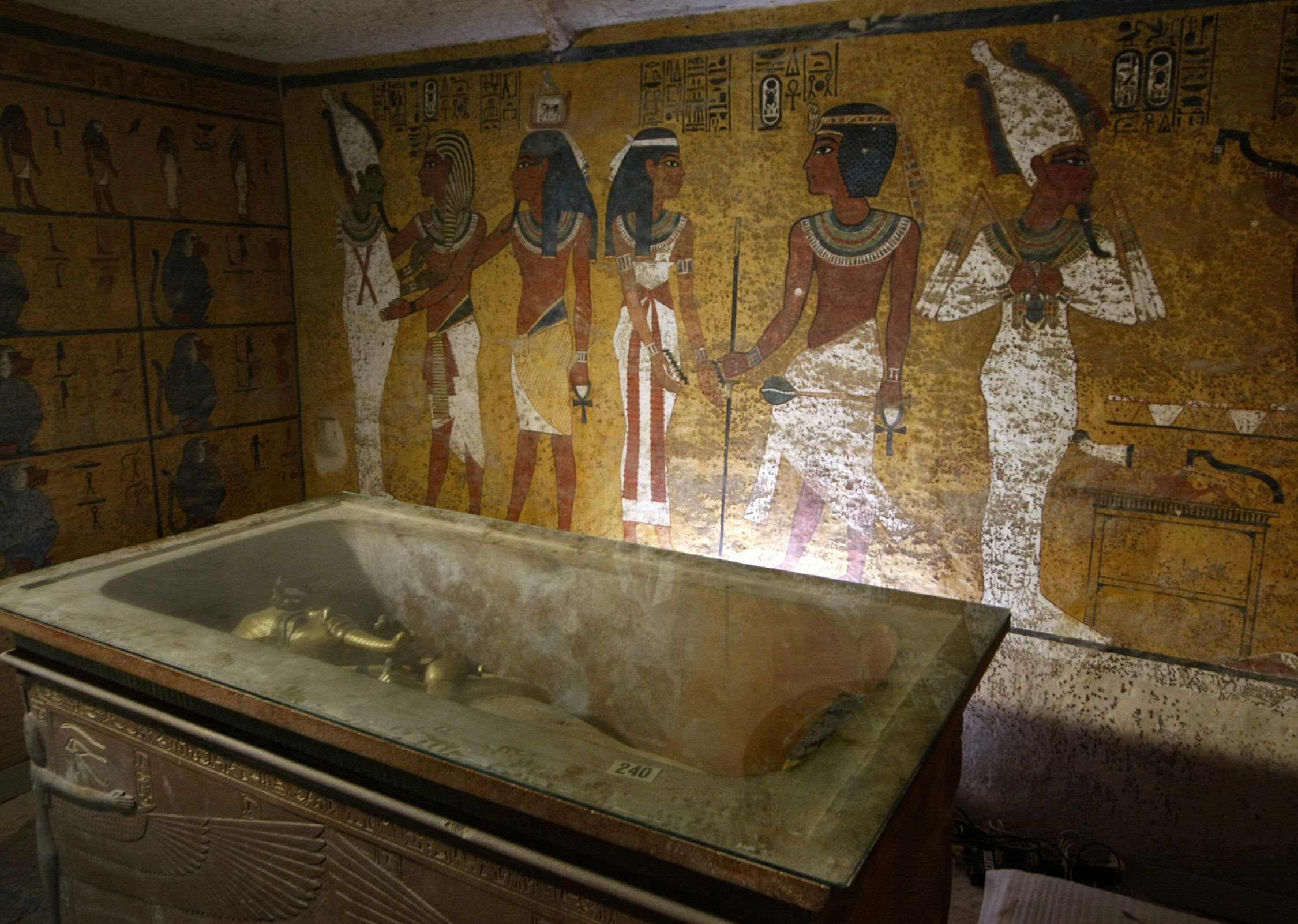 The wall on the other side of King Tut's sarcophagus could be hiding the entrance to a secret chamber.