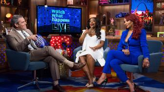 WATCH WHAT HAPPENS LIVE -- Pictured (l-r): Andy Cohen, Kandi Burruss and Vivica A. Fox -- (Photo by: Charles Sykes/Bravo/NBCU Photo Bank via Getty Images)