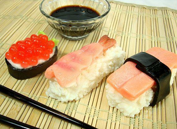"Sushi soap set from <a href=""https://www.etsy.com/listing/167728546/sushi-soap-set-goats-milk-soap-bar-3?ref=shop_home_active"