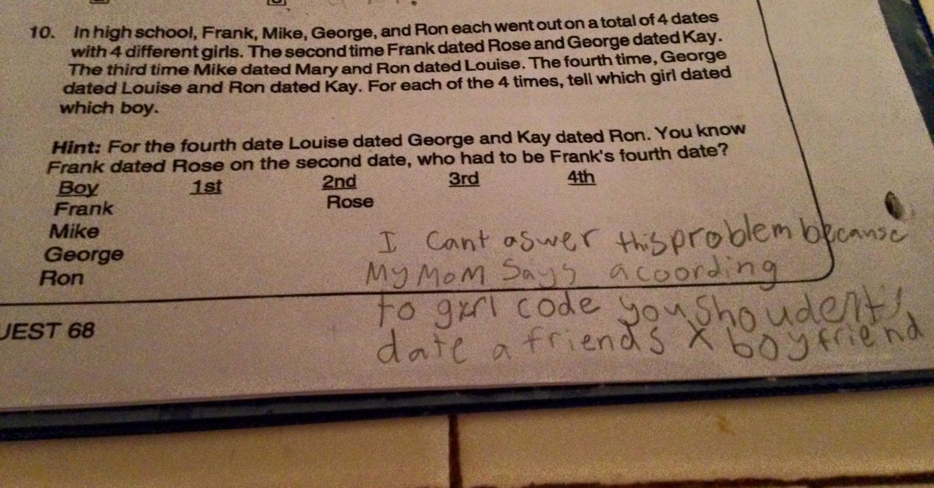 fourth grader shuts down math problem by invoking girl code huffpost. Black Bedroom Furniture Sets. Home Design Ideas
