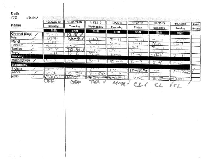 A copy of Alcantara's schedule, which shows that he was originally not expected to work on Jan. 3-5, 2014.