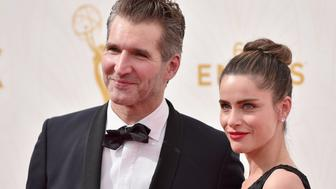 LOS ANGELES, CA - SEPTEMBER 20:  Producer David Benioff (L) and actress Amanda Peet attends the 67th Emmy Awards at Microsoft Theater on September 20, 2015 in Los Angeles, California. 25720_001  (Photo by Alberto E. Rodriguez/Getty Images for TNT LA)