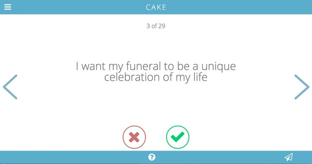 Cake asks people to think about what they want for their funerals as part of end-of-life planning.