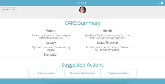 An example of the Cake summary.