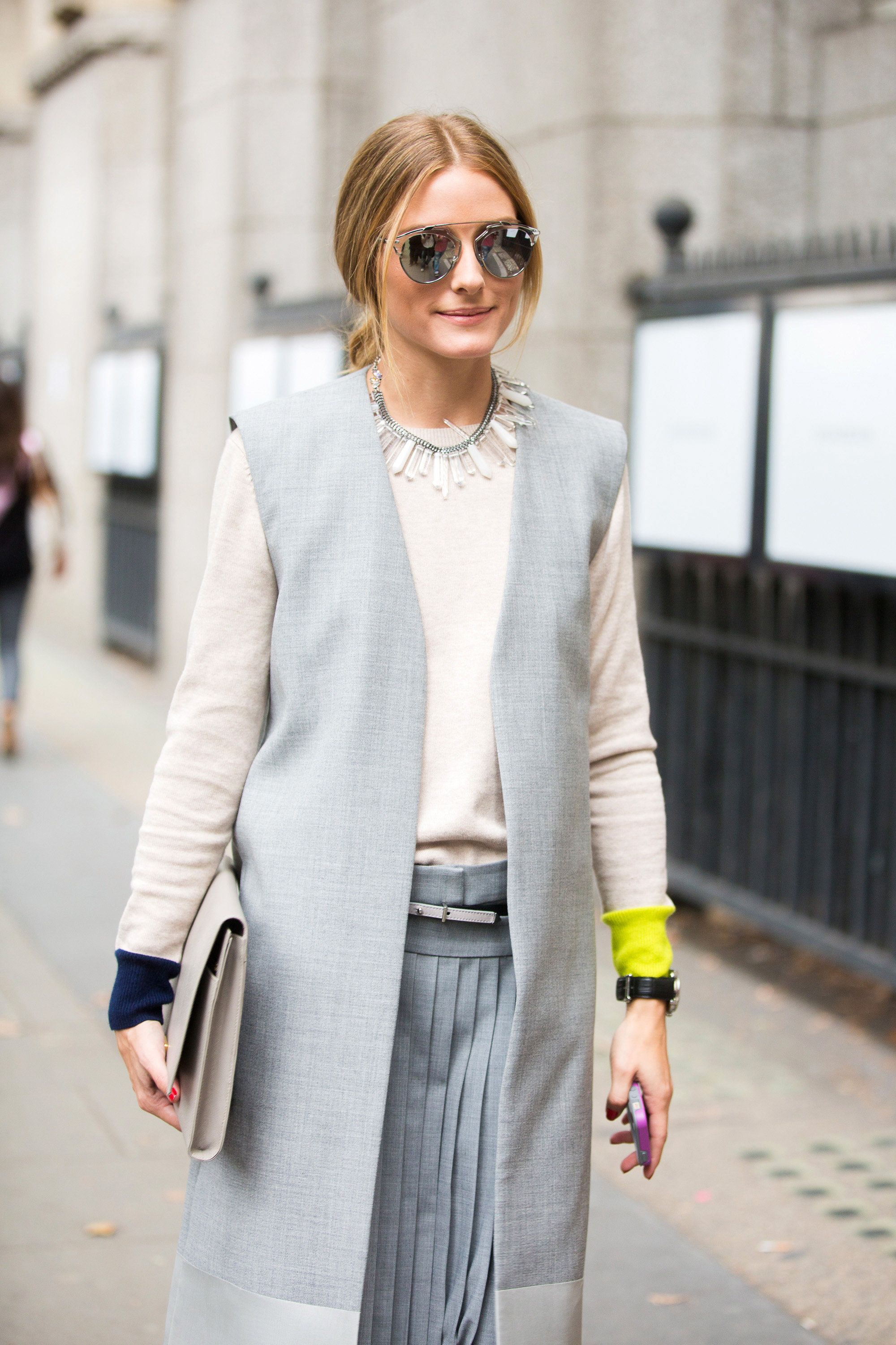 LONDON, ENGLAND - SEPTEMBER 13: Olivia Palermo exits the J.W. Anderson show on Day 2 of London Fashion Week Spring Summer 2015 on September 13, 2014 in London, England.  (Photo by Melodie Jeng/Getty Images)