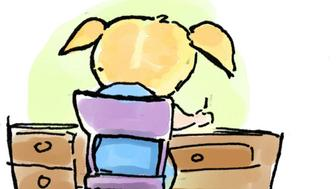 USA - 2008:  Hector Casanova color illustration of young girl at desk, titled 'Homework.' (The Kansas City Star/MCT via Getty Images)