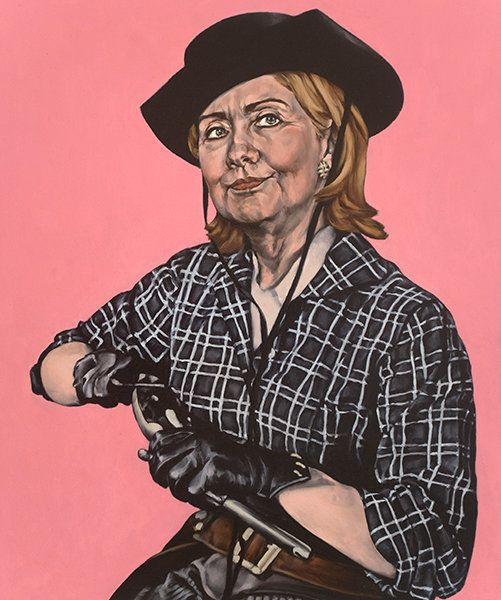 "<span class='image-component__caption' itemprop=""caption"">Cowboy Diplomacy: ""This one also went fast but it started with a photo of Hillary with a certain expression suggesting something that I didn't know how to articulate.  It was a matter of finding the right body for it, literally an embodiment of it. I was looking at pictures from the sets of B-movie Westerns when I began to glimpse it. It was all about the gloves. She leaves no fingerprints. Maybe this is what she means by smart power?""</span>"