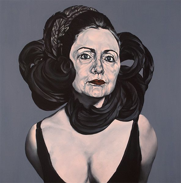 "<span class='image-component__caption' itemprop=""caption"">Don't Hate Me: ""This painting was based on a 1964 Avedon photo of Elizabeth Taylor. It is Hillary as sublime femme in a repressed sort of way. An ornate headdress contains her head and her arms appear to be bound behind her back. It is the kind of repression that seduces one to imagine what is under wraps, admittedly a favorite pastime of mine.""</span>"