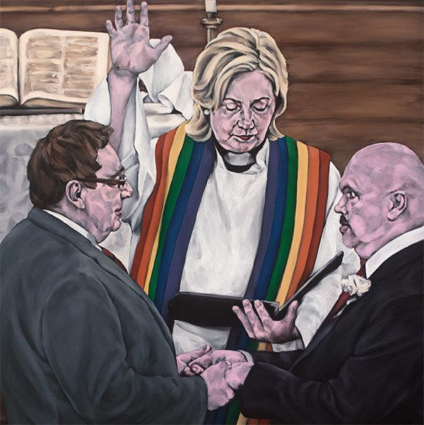"<span class='image-component__caption' itemprop=""caption"">True Colors: ""This was inspired by that Terry Gross interview of Hillary last spring when oodles of air time were wasted trying to get Hillary to admit that she was secretly pro gay marriage all along but didn't come out in support of it until the public was behind it. As a homosexual I can assure you that there is no homosexual out there who has ever doubted this. Not sure why heterosexuals insist on trying to prove it! Anyway, I thought it would be wise for Hillary to officiate the next gay wedding to demonstrate just how much she loves the idea of homo-wedlock. That way we could all move on.""</span>"