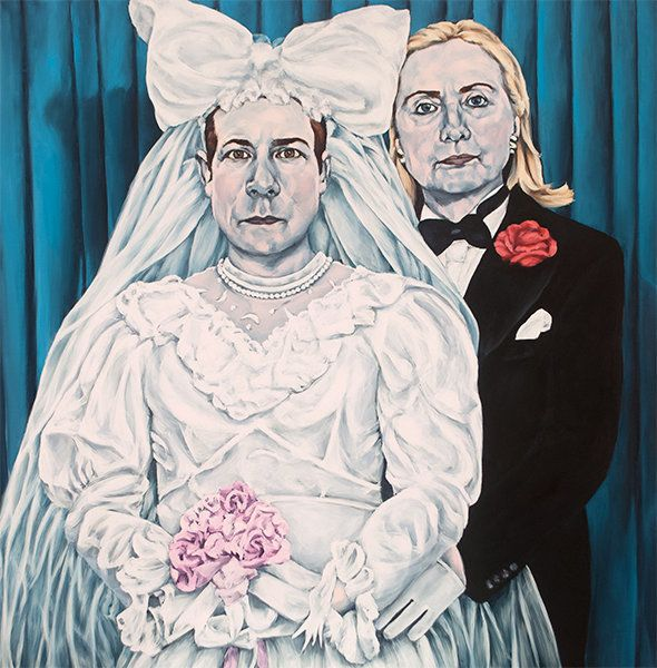 "Love Won: ""This is based on Pierre et Gilles' 'Wedding Photo' from 1993. It was a fake homo-wedding, my favorite kind."