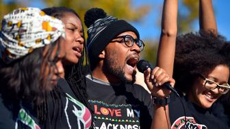 Jonathan Butler speaks for the Concerned Students 1950 at a press conference at MU on Monday, Nov. 9, 2015. (Allison Long/Kansas City Star/TNS via Getty Images)