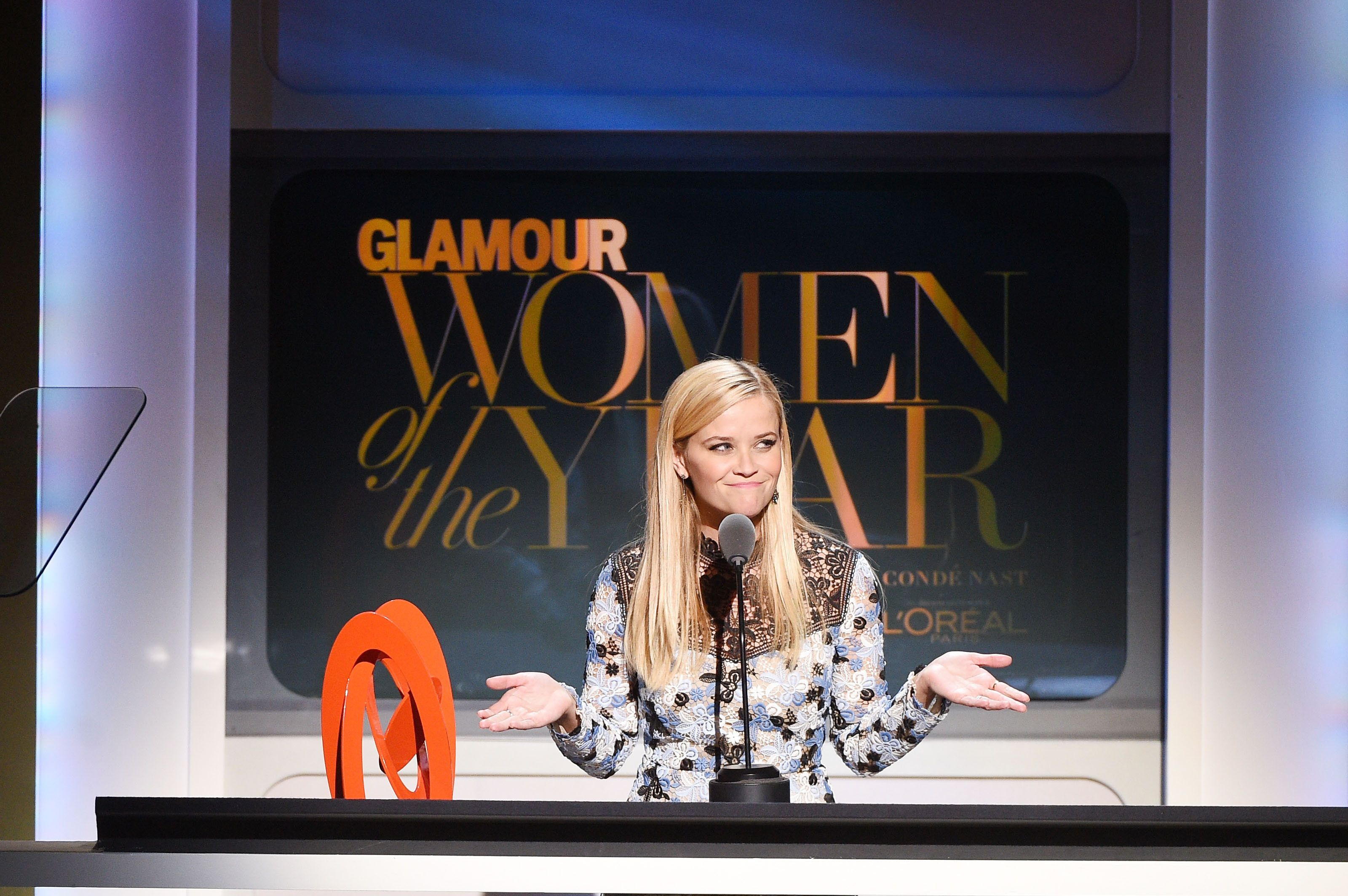 NEW YORK, NY - NOVEMBER 09:  Actress Reese Witherspoon speaks onstage at the 2015 Glamour Women of the Year Awards on November 9, 2015 in New York City.  (Photo by Larry Busacca/Getty Images for Glamour)