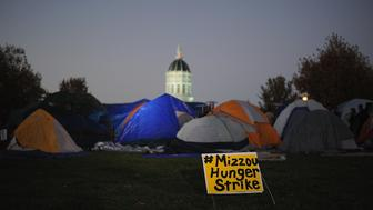 COLUMBIA, MO - NOVEMBER 9: Tents remain on the Mel Carnahan quad on the campus of University of Missouri - Columbia on November 9, 2015 in Columbia, Missouri. University of Missouri System President Tim Wolfe resigned today amid protests over racial tensions at the university.  (Photo by Michael B. Thomas/Getty Images)