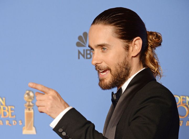 Jared Leto pointing at all the men wearing man buns in Williamsburg.