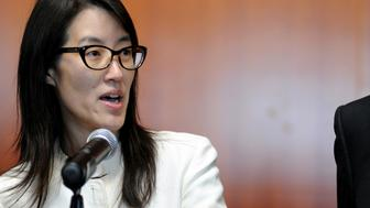 Ellen Pao, former junior partner at Kleiner Perkins Caufield & Byers, speaks to the media at state court in San Francisco, California, U.S., on Friday, March 27, 2015. A jury soundly rejected Pao's claims of gender discrimination by Kleiner Perkins Caufield & Byers, in a case that riveted Silicon Valley for weeks and exposed how women fare in the male-dominated world of venture capital. Photographer: Josh Edelson/Bloomberg via Getty Images