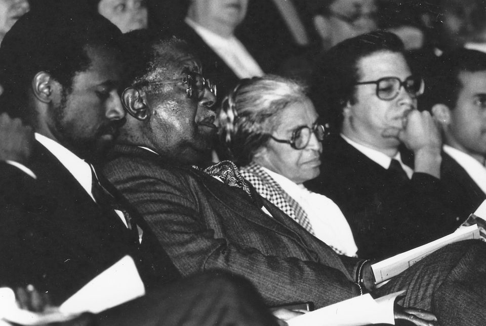 Civil Rights activist Rosa Parks, Ben Carson, Ralph Abernathy and Levy Watkins at Johns Hopkins University during a celebrati