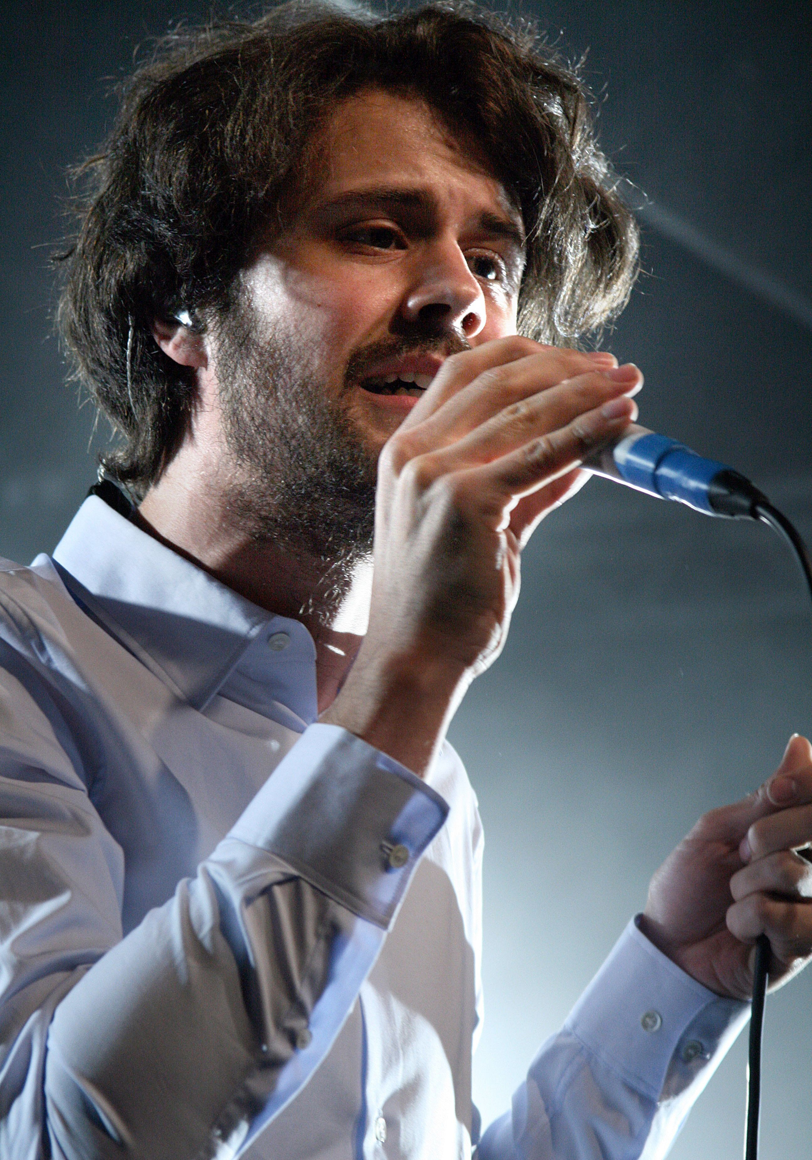 Michael Angelakos, lead singer of Passion Pit performs on stage at Rock City in Nottingham.
