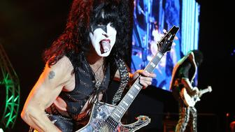 PERTH, AUSTRALIA - OCTOBER 03:  Paul Stanley of KISS, performs during their opening show for the Australian leg of their 40th anniversary world tour at Perth Arena on October 3, 2015 in Perth, Australia.  (Photo by Paul Kane/Getty Images)
