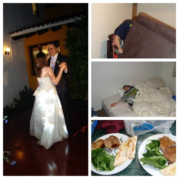 """""""We didn't have a fancy wedding, it was in my parents' backyard so we had no bridal suite. After the wedding we slept for the"""