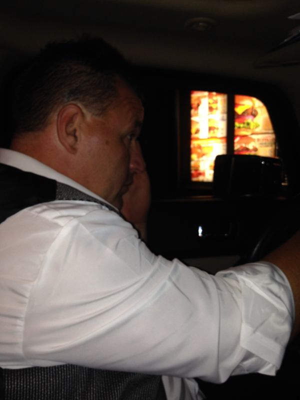 """""""My husband ordering at the drive-thru at Hardee's the night of our wedding. We were starving."""""""