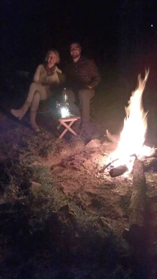 """""""My husband and I were married while on safari in Tanzania. Afterwards our guide arranged a campfire beneath the full moon."""""""