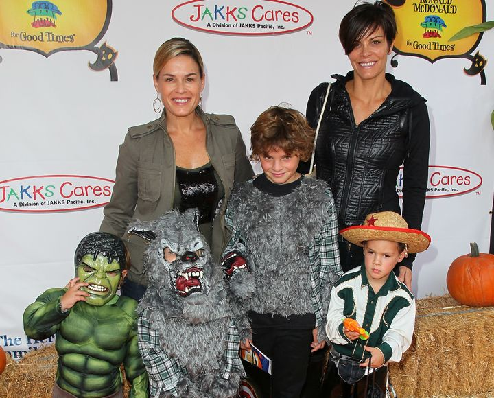 Cat Cora and her family attend Camp Ronald McDonald for Good Times 20th Annual Halloween Carnival at the Universal Studios Backlot on October 2012.
