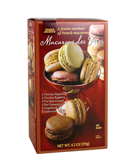 It's a macaron party up in here! Flavors include: chocolate peppermint,chocolate raspberry, four-spice caramel, pear ci