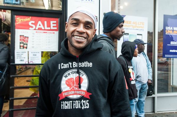 """Name: Jorel Ware<br>Age: 34<br>Employer: McDonald's<br>Pay: $8.75 per hour<br>Why he's protesting: """"I'm a fast food wor"""