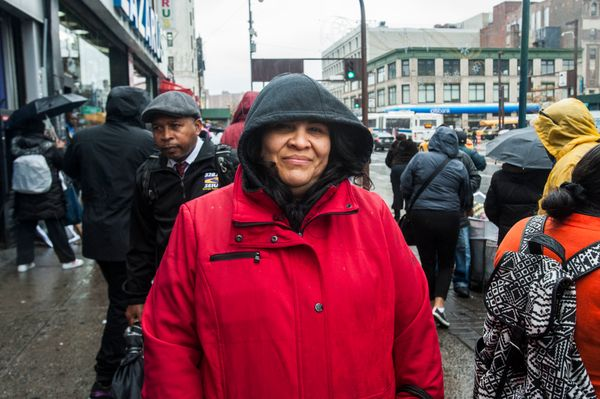 "Name: Berta Chacon <br>Age: 48<br>Employer: A beauty salon<br>Pay: $300 per week<br>Why she's protesting: ""We are fight"