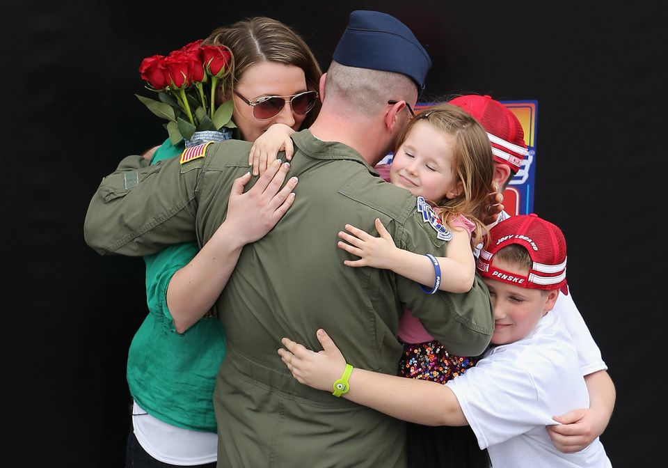 U.S. Air Force Technical Sergeant Chad Boley is reunited with his family at a surprise homecoming prior to the NASCAR Sprint