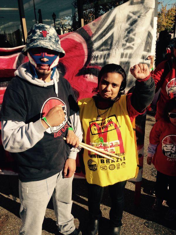 Name: Ernestina Sandoval (right) <br>Age: 35<br>City: Richmond, California<br>Employer: McDonald's<br>Pay: $9.60 per ho