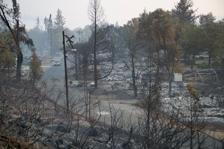 The ruins of homes that burned in the Valley Fire in Middletown, California.