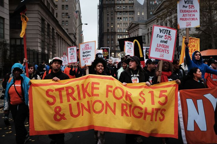 Low-wage workers and supporters protest for a $15 minimum wage on Nov. 10, 2015, in New York.