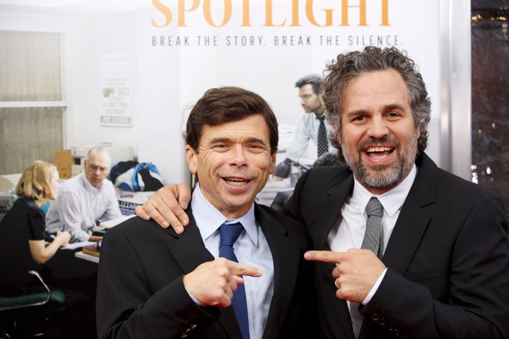 Boston Globe reporter Michael Rezendes, left, posted for a picture with Mark Ruffalo, right, the actor who portrayed him in t