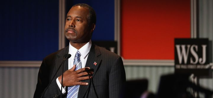 Presidential candidate Ben Carson pauses during the Star Spangled Banner in the opening of the Republican Presidential Debate