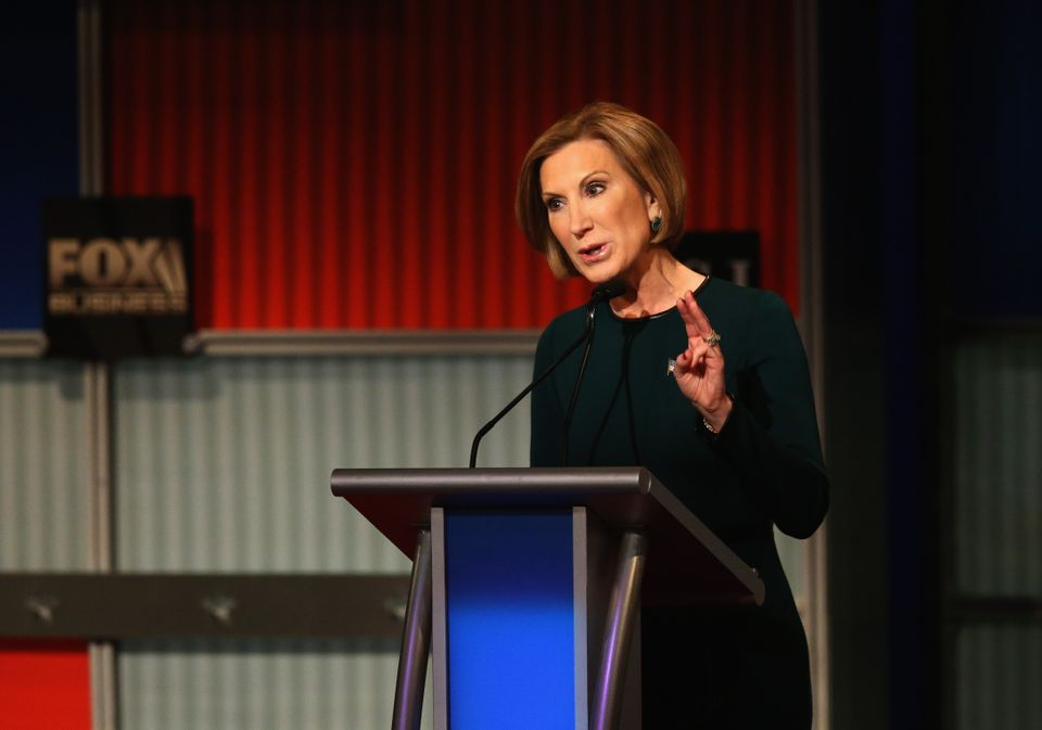 Republican presidential candidate Carly Fiorina speaks during the Republican Presidential Debate sponsored by Fox Business an