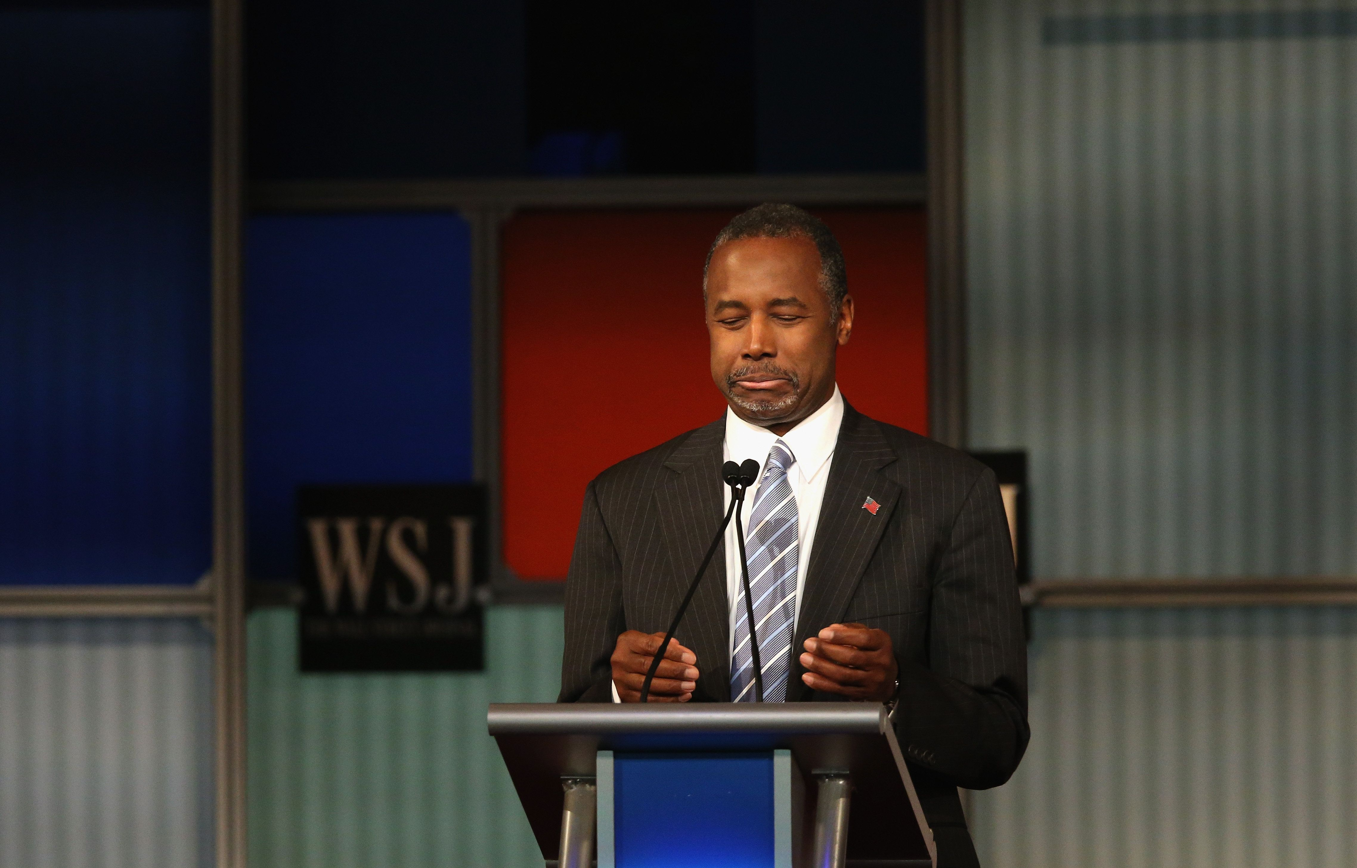 MILWAUKEE, WI - NOVEMBER 10:  Presidential candidate Ben Carson speaks during Republican Presidential Debate sponsored by Fox Business and the Wall Street Journal at the Milwaukee Theatre November 10, 2015 in Milwaukee, Wisconsin. The fourth Republican debate is held in two parts, one main debate for the top eight candidates, and another for four other candidates lower in the current polls.  (Photo by Scott Olson/Getty Images)
