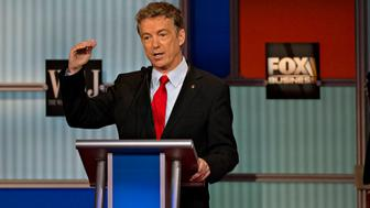 Senator Rand Paul, a Republican from Kentucky and 2016 Republican presidential candidate, speaks during a presidential candidate debate in Milwaukee, Wisconsin, U.S., on Tuesday, Nov. 10, 2015. The fourth Republican debate, hosted by Fox Business Network and the Wall Street Journal, focuses on the economy with eight presidential candidates included in the main event and four in the undercard version. Photographer: Daniel Acker/Bloomberg via Getty Images