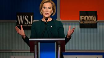 Carly Fiorina, former chairman and chief executive officer of Hewlett-Packard Co. and 2016 Republican presidential candidate, speaks during a presidential candidate debate in Milwaukee, Wisconsin, U.S., on Tuesday, Nov. 10, 2015. The fourth Republican debate, hosted by Fox Business Network and the Wall Street Journal, focuses on the economy with eight presidential candidates included in the main event and four in the undercard version. Photographer: Daniel Acker/Bloomberg via Getty Images
