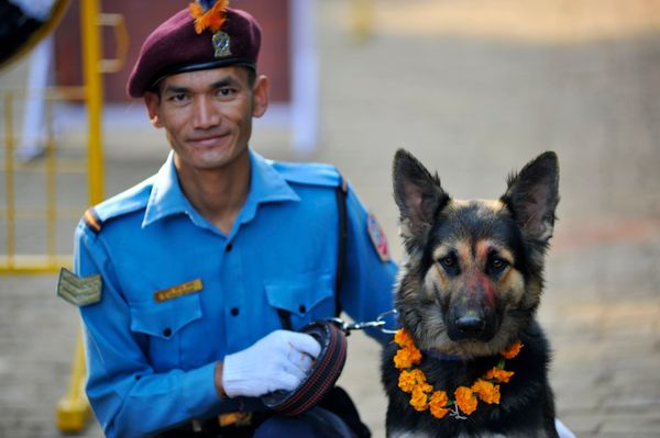 A Nepal police officer poses with his buddy at the Kukur Tihar Dog Festival.