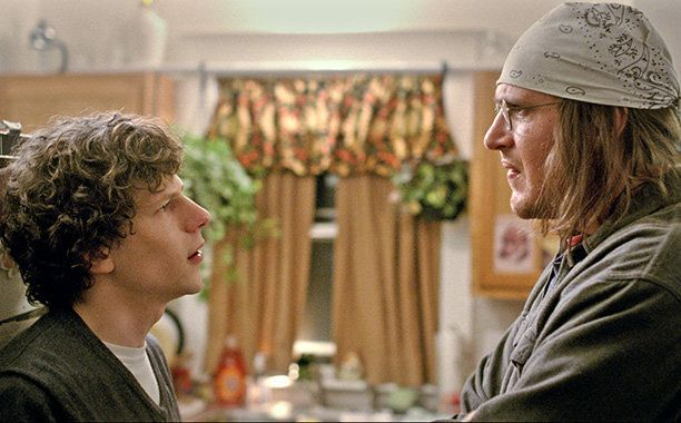 "Jason Segel and Jesse Eisenberg in ""The End of the Tour."""