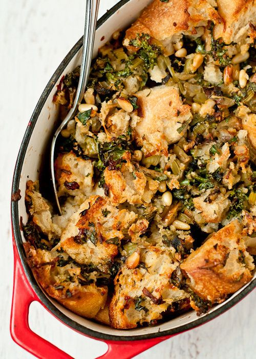 "<strong>Get the <a href=""http://cafejohnsonia.com/2012/11/kale-dried-porcini-mushroom-pine-nut-stuffing-dressing.html"" target"
