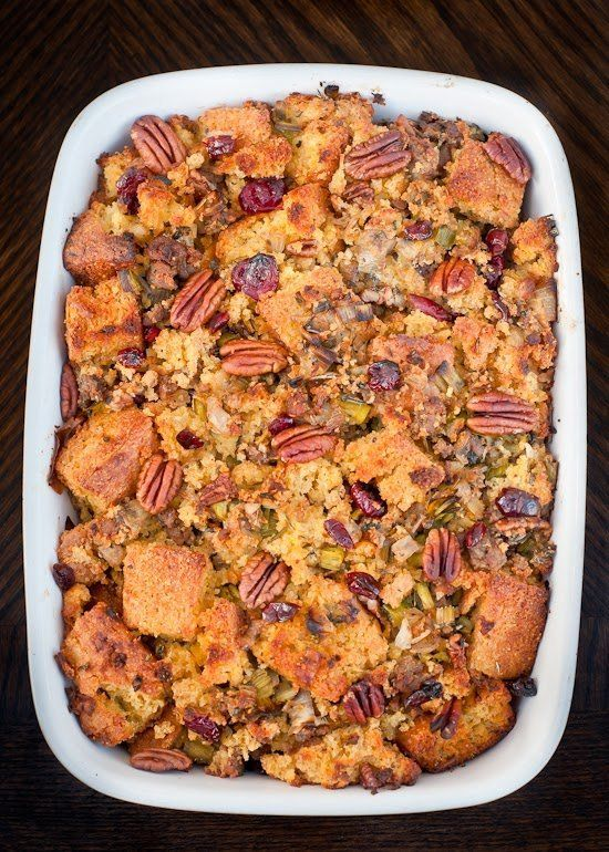 "<strong>Get the <a href=""http://cafejohnsonia.com/2013/11/gluten-free-cornbread-sausage-stuffing-leeks-pecans-cranberries.htm"